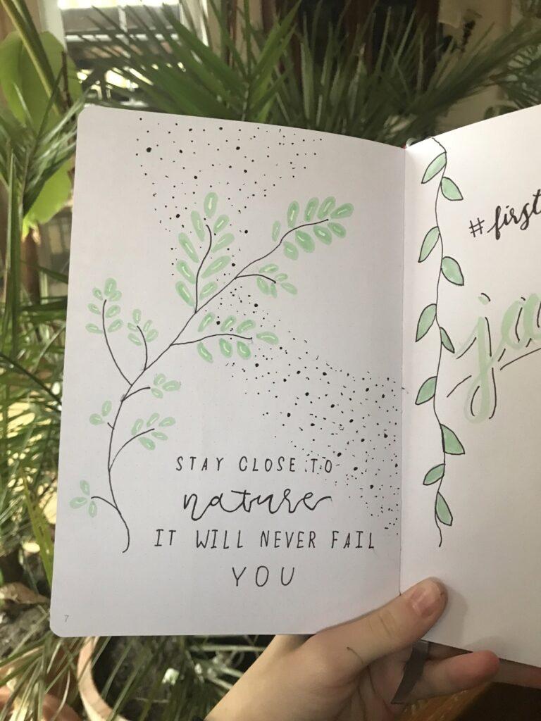 Oft gibt es Seiten mit Sprüchen, die einfach nur zur Verzierung dienen. Dieses Bild ist inspiriert von https://www.instagram.com/p/BvWVQ4yji58/
